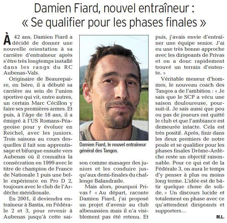 Présentation du nouveau coach sénior dans le Dauphiné Libéré