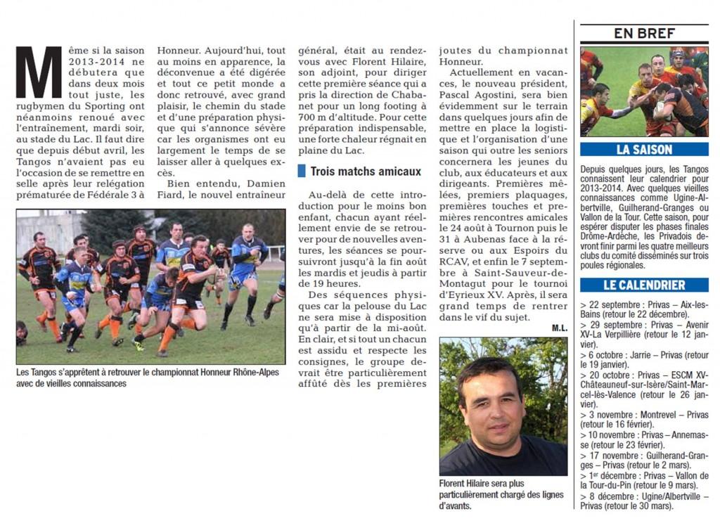 Présentation de la saison dans le Dauphiné Liberé du 20 juillet 2013