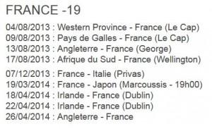calendrier U19